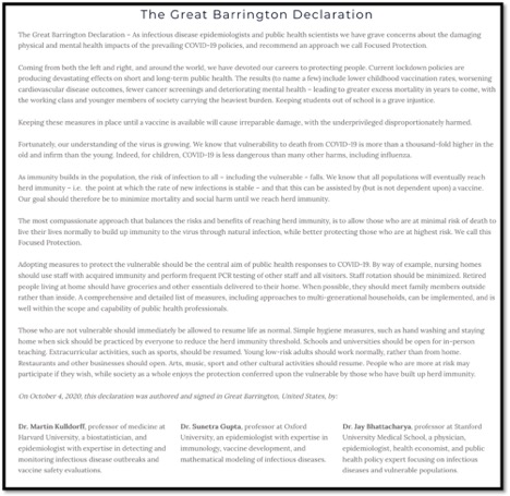 The Great Barrington Declaration