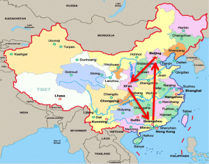 Map travelling in China