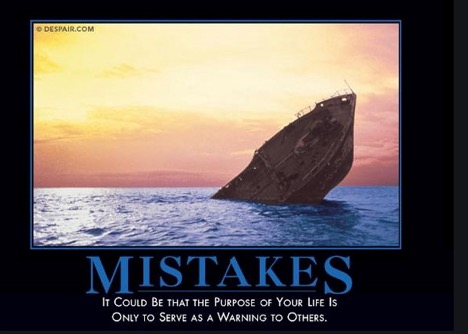 picture of sinking ship with the word mistakes