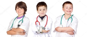 three young boys dressed up as doctors