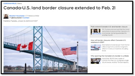 border bridge with US and Canadian flag and title that Canada-US land border closure extended
