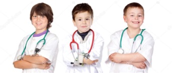 three young boys dressed as doctors with stethoscopes and arms folded