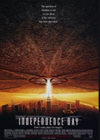 movie poster for independence day spaceship shining light on NY city