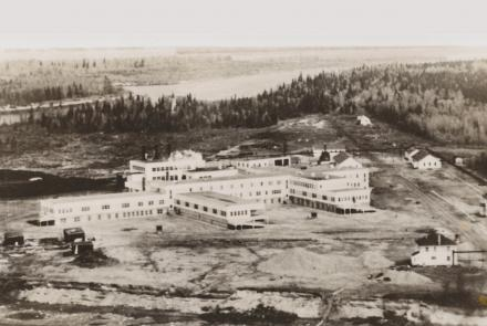 arial photo of first hospital in Moose Factory ON