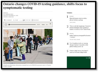 September 24 2020 Dr Archer S Update On Covid 19 Response From The Dom And Medicine Program Department Of Medicine School Of Medicine Queen S University