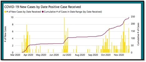 graph of COVID-19 new cases by date in KFL&A