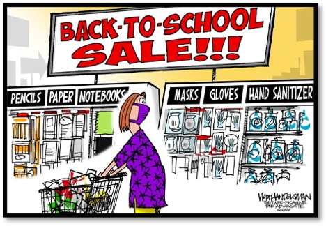 cartoon showing back to school items include masks, hand sanitizer and gloves
