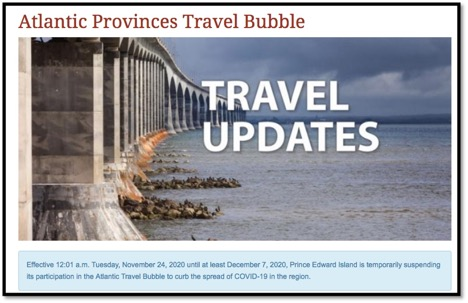 photo of the confederation bridge in PEI and title Travel Updates
