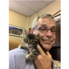 photo of man holding a kitten on his shoulder