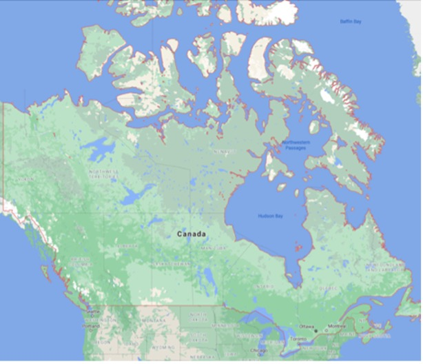 map of Canada and surrounding waters