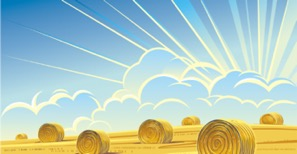 animated photo of a hay field, with bales of hay and sunshine rays