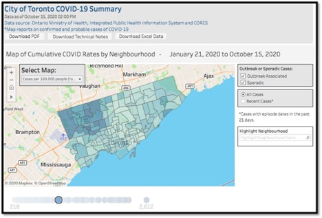 map of Toronto highlighting COVID-19 cases by neighbourhood