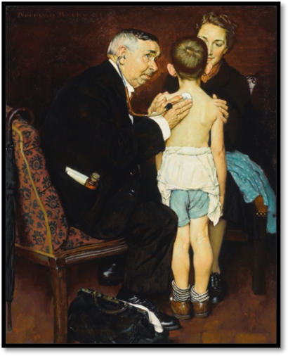 Norman Rockwell painting Doctor and child patient