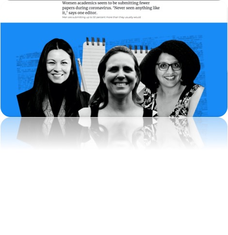 photo of 3 women titled women academics submitting fewer papers