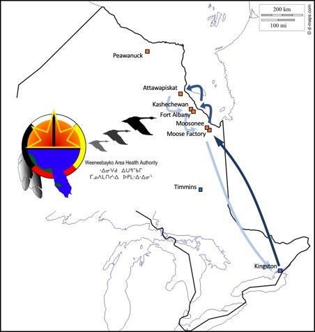 A map of the Weeneebayko Health Region, with coastal (fly-in) communities of Fort Albany, Kashechewan, Attawapiskat, and Peawanuck labelled.