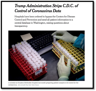 Screenshot of News article titled: Trump administration strips C.D.C of control of coronavirus data