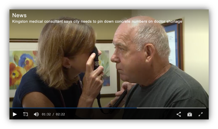 screen shot of news video on physician shortage