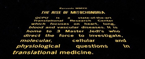 starwars style text: The rise of mitochondria