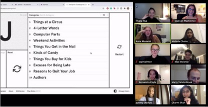 screen shot of group of students playing scattergories on zoom
