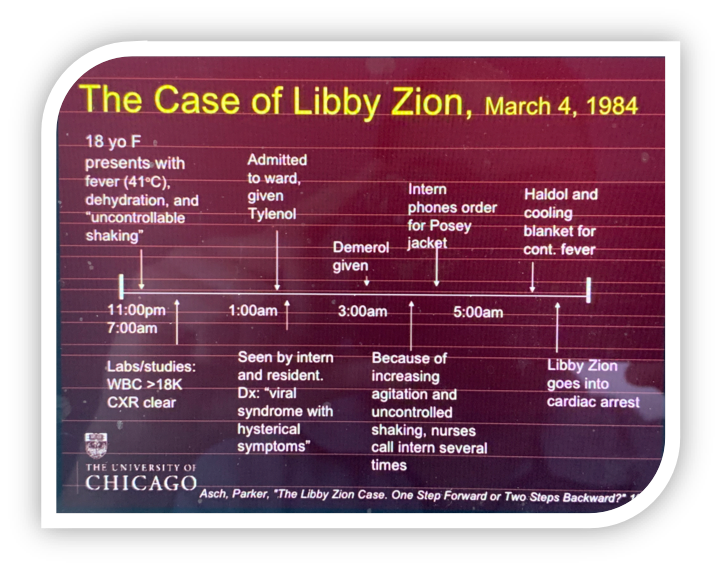 Chart outlining the events leading to Libby Zion's death