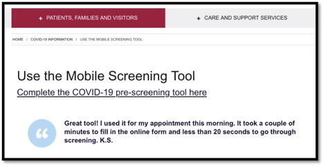 screen shot of the mobile screening device for patients of KHSC
