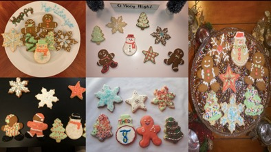 5 photos of beautifully decorated Christmas cookies