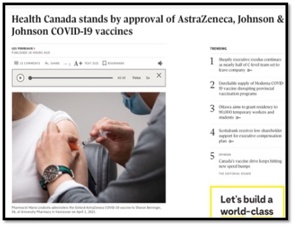 health Canada news article photo of physician giving vaccine in patient arm