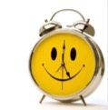 alarm clock with a smiley face