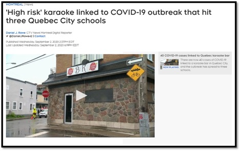 News article re covid-19 outbreak at karaoke bar in Quebec City