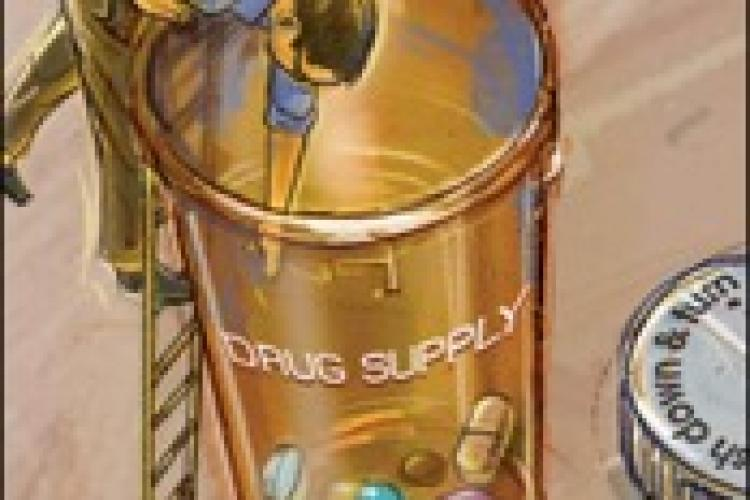 man on top of ladder leaning over a pill bottle