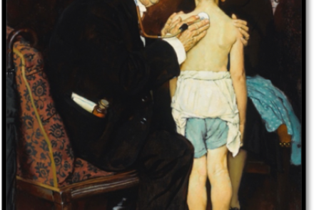 Norman Rockwell painting of Doctor with child patient doing house call