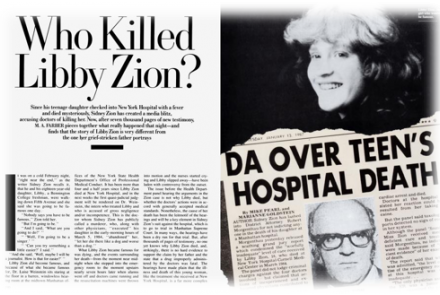 Newspaper article of who killed Libby Zion